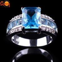 Sz7/8/9/10   jewellery Aquamarine Gentlemen's/ladys 14KT white Gold Filled Ring