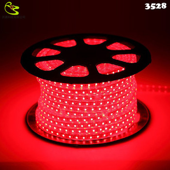 Free shipping IP66 60LED SMD 3528 LED Strip 220  Red LED Light Strip 4W/M 300LED Waterproof