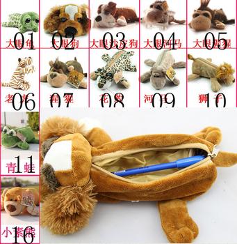 Cute Plush Pekingese Monkey Tortoise Hippo Frog Option Doll Pencil Case Bag Storage Pen Holder Best Gift For Kids Free Shipping