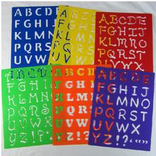 6 designs set  27.7*21.5**0.06cm Kids Capital Alphabet Letter Plastic Template Stencil Board Children's drawing template Set(China (Mainland))