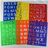 6 designs set  27.7*21.5**0.06cm Kids Capital Alphabet Letter Plastic Template Stencil Board Children's drawing template Set