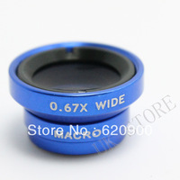 100% GUARANTEE  blue  2 IN 1 0.67x Wide Angle + Macro Lens for iPhone 4 4S iTouch 4G i9100 HTC i Pod Phone Camera
