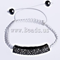 Free shipping!!!Brass Shamballa Bracelets,One Direction, with Non-magnetic Hematite & Brass, with rhinestone, white