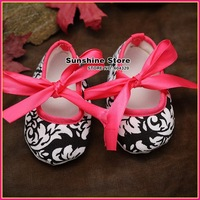 Damask infant Baby Ballerina toddler shoes!antiskid hot pink newborn booties-prewalker bebe moccasins #2B2031  3 pair/lot