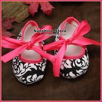 Sunshine store #2B2031  3 pair/lot(Damask) infant Baby Ballerina shoes!antiskid hot pink Booties-Baby Crib Shoes prewalker  CPAM