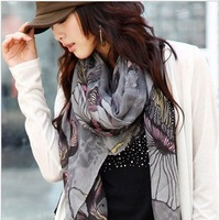Chinese Flowering Crab-Apple Cotton Linen Scarf Silk Women's Scarves LJ-0401 Free Shipping