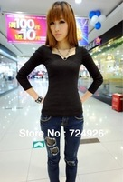 2014 SPRING  NEW FASHION LADY LONG SLEEVE T SHIRT V NECK BASE SHIRT FREE SHIPPING