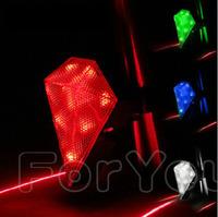 Hot ! Diamond Jewel Cycling Bicycle Bike Laser Beam Lane Chargeable 3 Mode 8LED + 2 Laser Waterproof Flashlight LED Tail Light