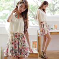 2014 Fashion Summer Bandage Dress Butterfly Sleeve Print Princess Chiffon Casual Korean Women Dresses.Roupas Femininas Vestidos