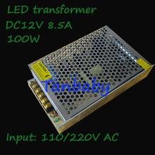 Free shipping led driver 100W AC110/220V to DC12V 8.5A led lighting transformer  for strip light power supply unit(China (Mainland))