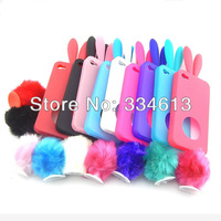 9 Colors Option Soft TPU Skin Bunny Rabbit Back Case Cover With Tail For iphone 4 4G 4S Free Shipping
