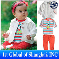 2013 New Arrival Baby Girl Clothes Female Child Cartoon Owl 3pcs/set jacket+striped T-shirt+Pant Girl Suit Autumn Free Shipping