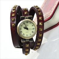 2014 new fashion women dresses wristwatch vintage JQ Cow leather wrap watch ROMA long strap pyramid rivet hot sale JC1258