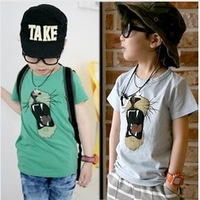 2013 New Arrival Boys'  Cute Short Sleeves Shirt With A Roaring Lion Spring Summer  Free Shipping Wholesale TST061