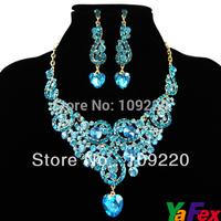 Free Shipping 1set/lot  Bridesmaid Party Crystal Rhinestone Earring Bridal Wedding Fashion Jewelry Necklace Sets WA258-5#