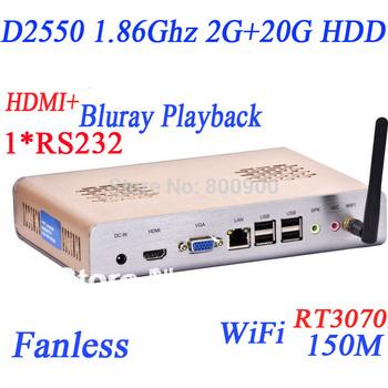 Mini pcs with atom CPU 2G RAM 20G HDD RT3070 WiFi 150Mbps intel atom dual core four thread D2550 fanless RS232 COM HDMI port