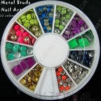 3D Nail Art Metal Studs Rhinestone Tips DIY Decoration 12 Colors  3-6mm -Free Shipping