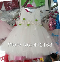 Princess White New Arrival Bridemaid Flower Girl Dress Birthday Ball Party Prom Kids Children's Costume Sale Freeshipping