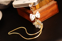 2014 Special Offer New White Bow Clean Style Diamonds Jack Plug for Mobile Phone Accessories Sp/mix Order $5 Free Shipping B032
