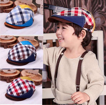 Korean Version Hat Baseball Cap Children Baby Hat Boy And Girl Plaid Beret Free Shipping