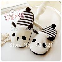 Cartoon panda stripe plush slippers, lover's gift, at home slippers for spring/autumn
