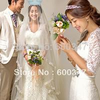 Lady White Lace Half Sleeve Deep V-neck Sheath Mermaid Wedding Dresses Bridal Gown Formal Prom Gown