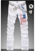 Spike ! High-end version designer jeans for the mens casual summer spring famous brand men American flag jean straight trousers