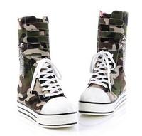 Women boots platform 2014 new plus big size 34 - 43 femal casual skateboarding shoes Camouflage platform canvas shoes