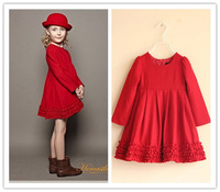 Children's clothing 2013 autumn and winter girls high quality woolen red dress princess dress long-sleeve dress layered hem