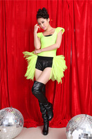 2014 Female ds costume dance hiphop punk clothes neon green sexy bodysuit