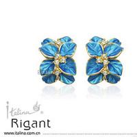 Italina Rigant Fashion Blue Enamel Flower Stud Earring Women Luxury Crystal 18K Rose Gold Plated Fashion Earrings Free shipping