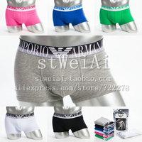 Free shipping Solid color cotton lycra male boxer panties male comfortable cotton panties letter elastic strap panties 5pcs/lot