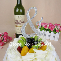 High Quality with LOW Price + Free Shipping, Rhinestone Cake Topper,Big Size Symbol &, 3 pcs/lot, Mix 3 Different Letters Freely