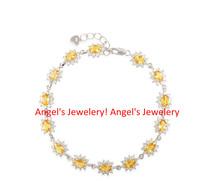 Fine Citrine Chain Bracelet with 925 Silver Plated 18k White ,  Real Gem Stone Jewelery Chain Bracelet