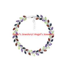 Multi Gem Stones Chain Bracelet,  Hot Sale Elegant Gift Real Stones Bracelet, Jewelery Bracelet