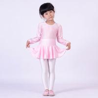 Child Girl long-sleeve Latin one piece dance leotard underwear belt ballet skirt gym suit Pink White Blue Red Yellow Black