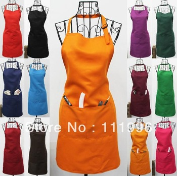 8X Hot sale Free sale women Chefs cook Catering BBQ Bar Plain orange Aprons with Pocket Waiter Butcher Bib Kitchen Craft