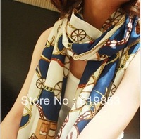 Hot Fashion Carriage Design Printing Chain Giant Sunscreen Chiffon Silk Scarves Beach Shawls Scarf Women Sexy Outdoors Pashmina