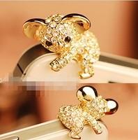 Free shipping Min.Order $10 Golden - Korea Cute Koala Crystal Cell Phone Headset Dust Plug for IPhone 4S
