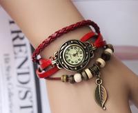 Leather Hand Knit Vintage Watch Bracelet Wristwatches Leaf Pendant For Women Ladies 1000pcs Free Shipping
