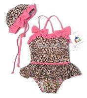Hot 2014 summer baby swimsuit kids girls dresses cute leopard swimwear Girls kids baby cap bathing suits wholesale,free shipping