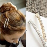 Free shipping,Min order 15$ (Mixed order) New Fashion Shining Double Row Rhinestone Lady Hair Side Clip Barrette Headwear Jewel