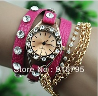Promotion Fashion leather strap Chain Watch Bracelet Ladies Wind Rivet wirst watches Women Luxury Crystal Watch Free shipping