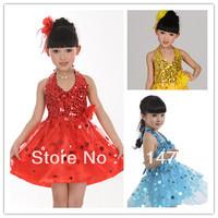 Summer child gilrs performance costume latin dance wear girls tutu dress free shipping
