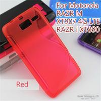 Anti-skid design, S-Line TPU Flexible Rubber Skin Case Cover For Motorola RAZR M XT907 4G LTE RAZR i XT890, 100pieces/1lot