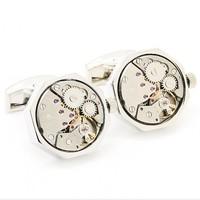 Silver Octagon Watch Movement Cufflinks KL0933