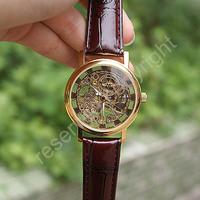 winner watch ,Gold Skeleton Analog Display Watch Casual Mens & Womens Mechanical Watch ML0193