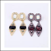 2014 New Arrival Retro Geometry 9cm Long Earrings For Women Black Brown Crystal Gem Brand Jewelry Wholesale