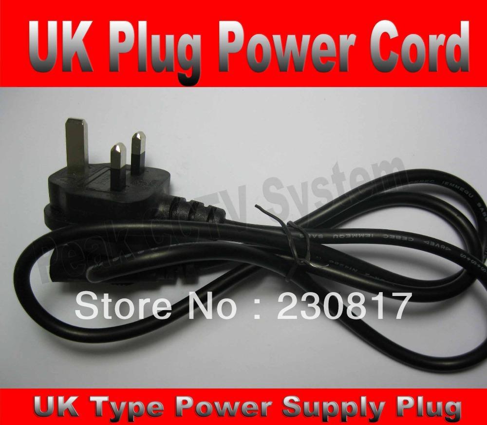 3-Prong UK Plug 10pcs/lot Power Cord British Standard AC Power Supply Cord Adapter Cable(China (Mainland))