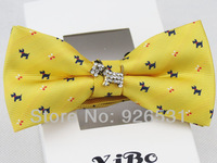 New style bowtie/yellow and navy blue/puppy pattern design man neck decorations/free shipping
